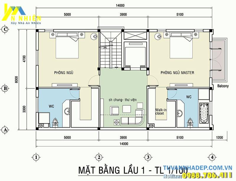 Mặt bằng nội thất biệt thự 3 tầng mặt tiền 8m