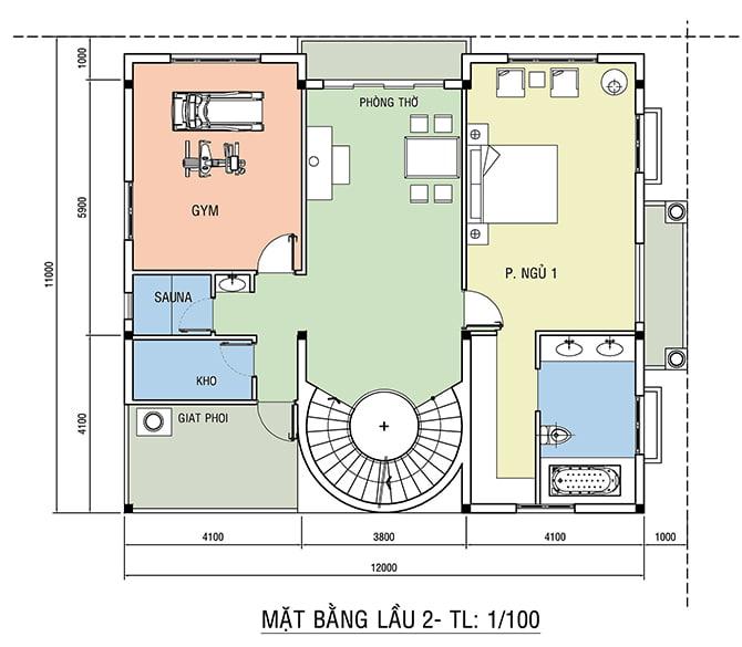 Chi tiết bố trí nội thất tầng 3 với phòng thờ và phòng tập gym