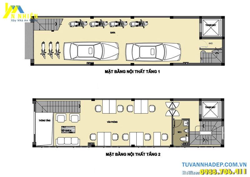 Mặt bằng nhà phố 5 tầng 100m2 kết hợp kinh doanh