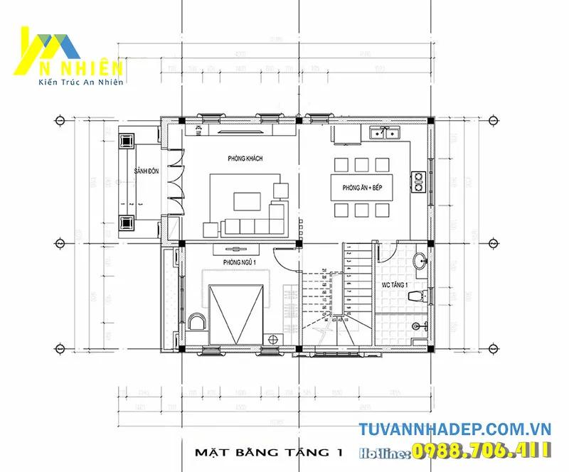 Mặt bằng nhà cấp 4 bố trí 3 phòng ngủ mặt tiền 5m