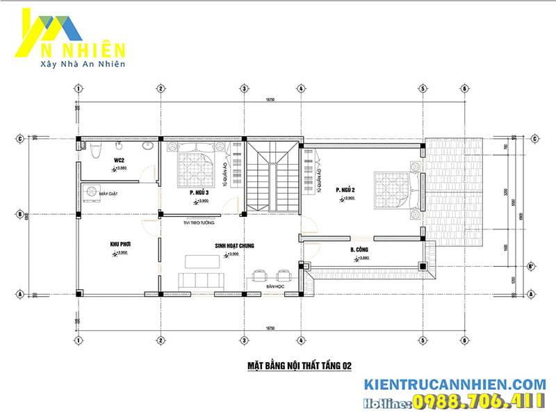 Mặt bằng biệt thự 2 tầng 119m2