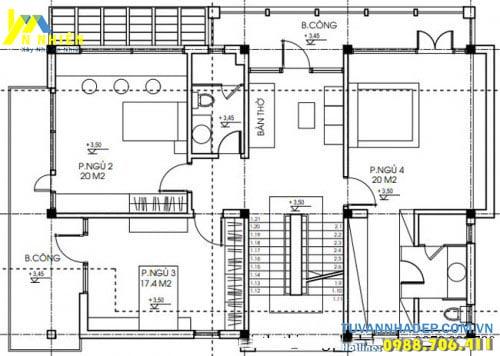 Tầng 2 bố trí 4 phòng ngủ hợp lý
