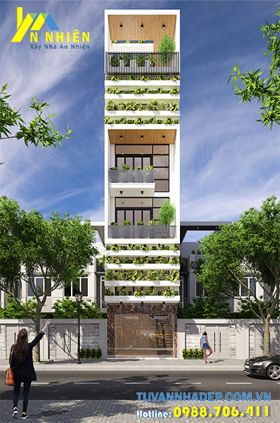 nhà phố xanh 4 tầng ngang 4m