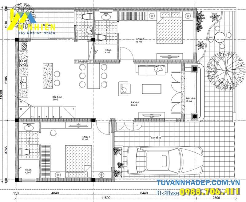 mặt bằng tầng 1 nhà mái thái 1 tầng 120m2