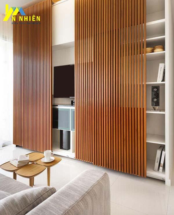 sử dụng lam gỗ cho phòng khách