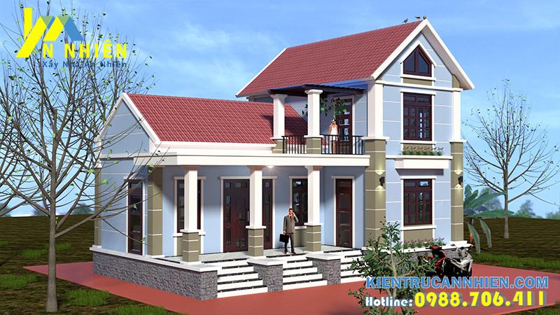Thiết kế nhà 2 tầng chữ L mặt tiền 13m