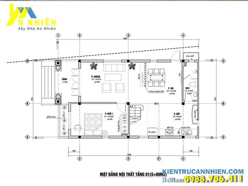 Mặt bằng nhà phố 2 tầng 1 tum 7x12m