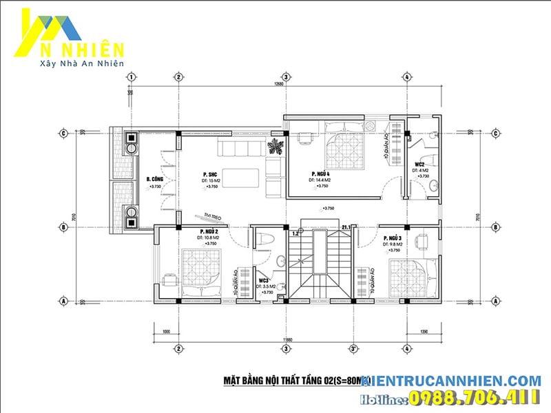Bản vẽ mặt bằng tầng 2 thiết kế 3 phòng ngủ thoáng mát
