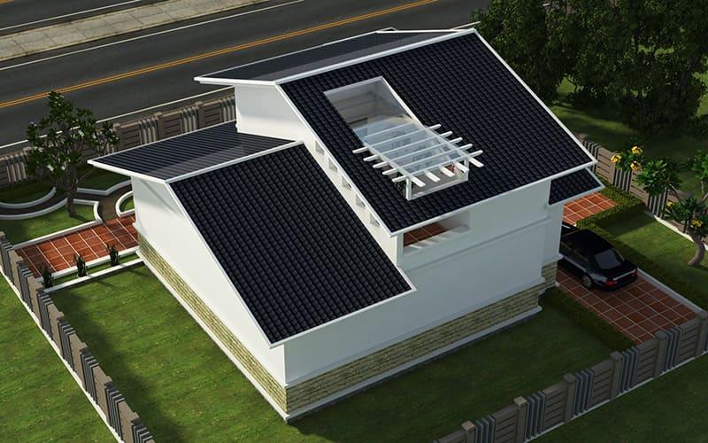 phân mái thiết kế giếng trời cung cấp ánh sáng cho không gian nội thất