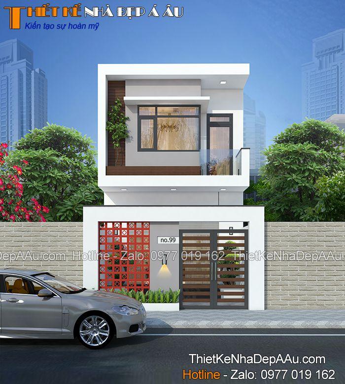 Kiến trúc mái bằng hiện đại của nhà phố 2 tầng mặt tiền 5m