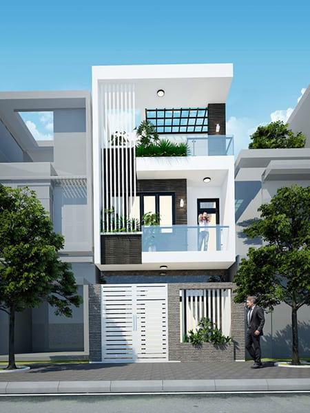 Bản vẽ nhà phố 2 tầng đẹp