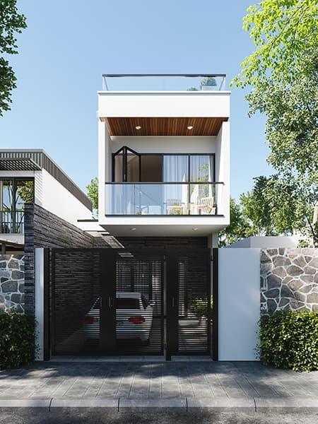 Nhà 2 tầng đẹp hiện đại mặt tiền 6m
