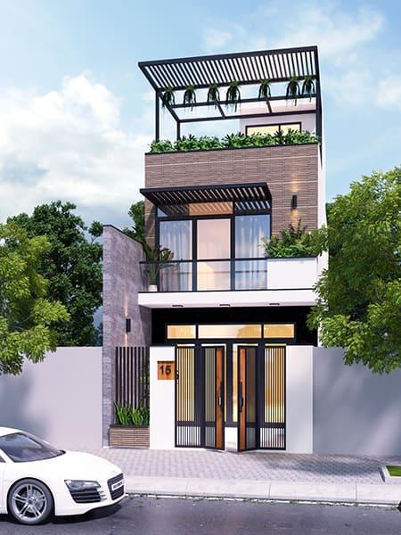 Thiết kế nhà phố 2 tầng mặt tiền 6m đẹp