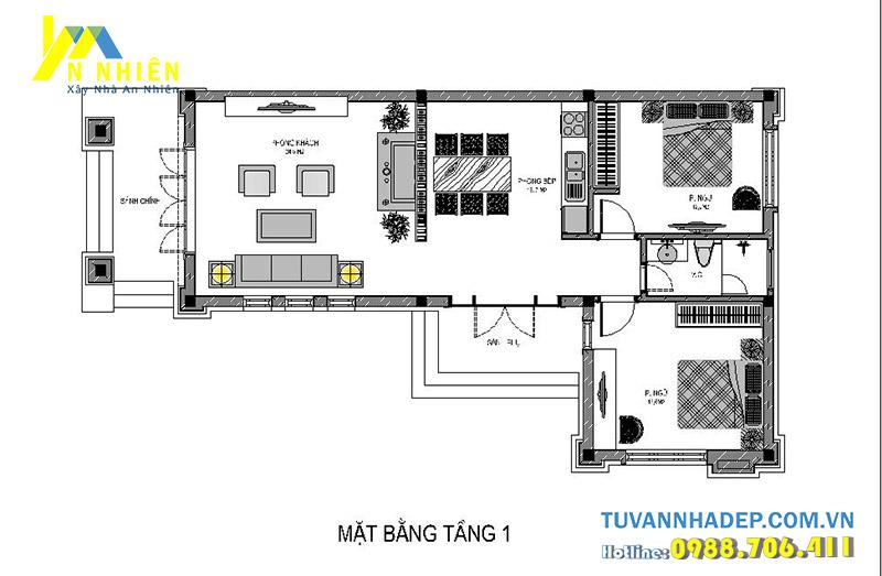 mặt bằng biệt thự 1 tầng 120m2