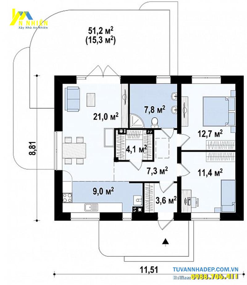 mặt bằng nhà 1 tầng 94m2