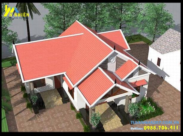 Bản vẽ thiết kế nhà cấp 4 mái thái 3 gian