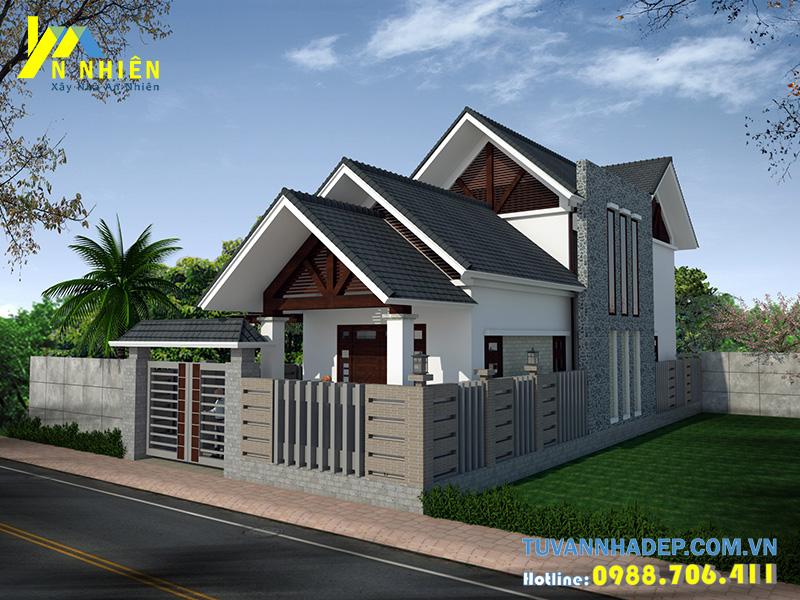 Kiểu mái 3 tầng tạo điểm nhấn và không gian mát mẻ cho ngôi nhà