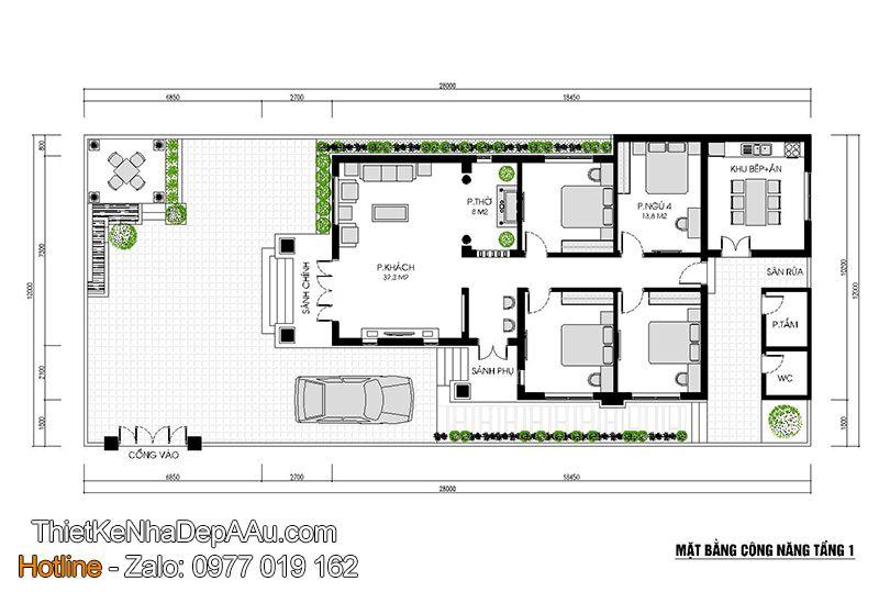 Bố trí công năng của mẫu nhà cấp 4 mặt tiền 9m mái thái