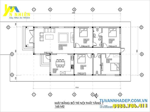 Bản vẽ mặt bằng nhà cấp 4 4 phòng ngủ 1 phòng khách