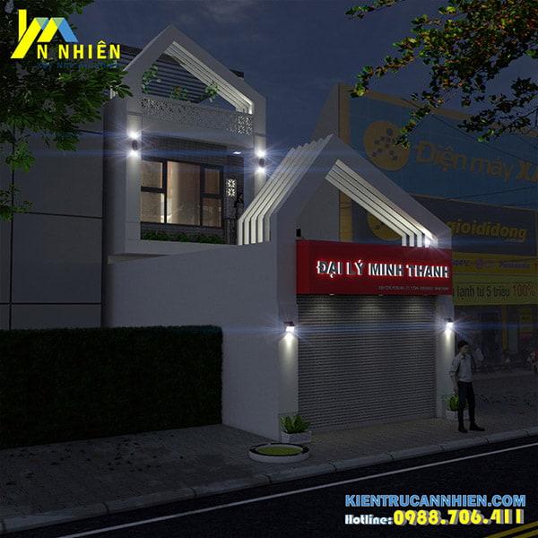 Phương án phối cảnh về đêm cho căn nhà phố 2 tầng