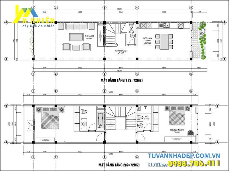 mặt bằng tầng 1 và tầng 2 nhà phố 4 tầng ngang 4m