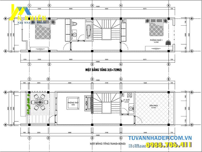 mặt bằng tầng 3 và tầng 4 nhà phố 4 tầng ngang 4m