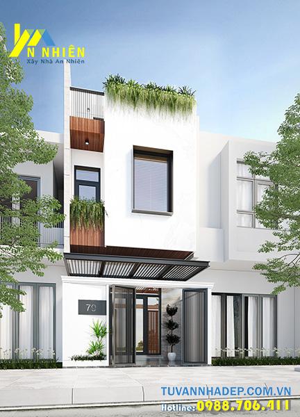 nhà hiện đại 2 tầng chiều ngang rộng 5m với hình khối lập phương