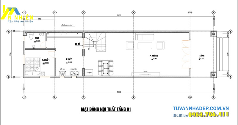mặt bằng tầng 1 nhà phố 2 tầng 3 phòng ngủ 5x20m
