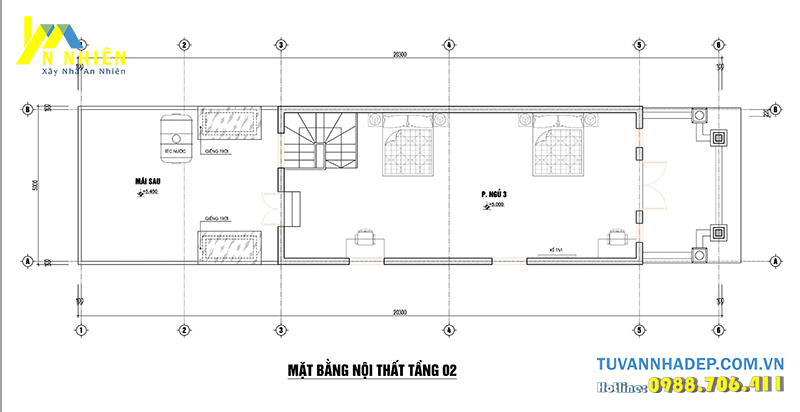 mặt bằng tầng 2 nhà phố 2 tầng 5x20m