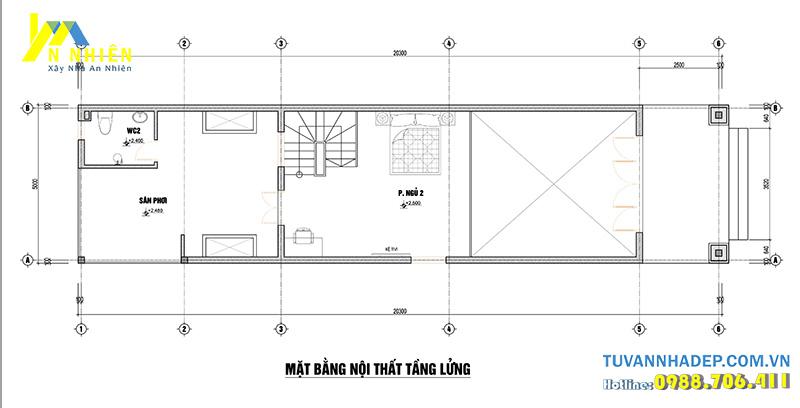 mặt bằng tầng lửng nhà phố 2 tầng 5x20m
