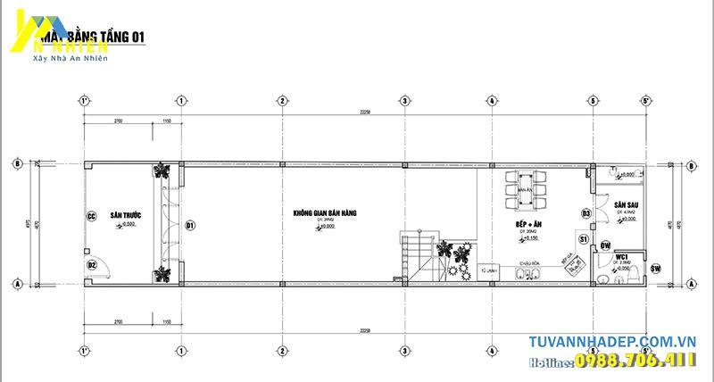 mặt bằng tầng 1 nhà 2 tầng 5x20m