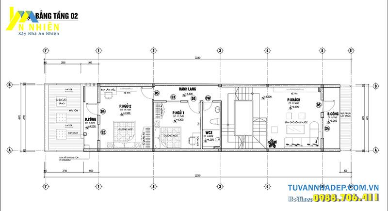 mặt bằng tầng 2 nhà 2 tầng 5x20m