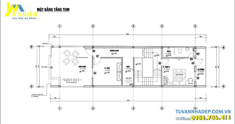 bản vẽ tầng tum nhà 2 tầng 5x20m