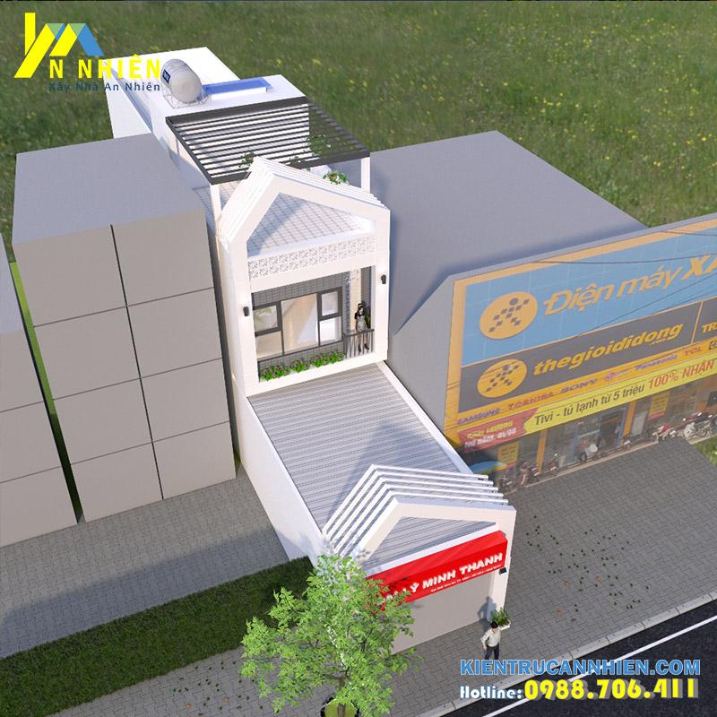 phối cảnh nhà phố 2 tầng mặt tiền 5m kết hợp kinh doanh