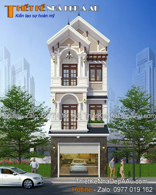 Ngắm nhìn phối cảnh mẫu nhà phố 3 tầng 5 phòng ngủ ở Long An