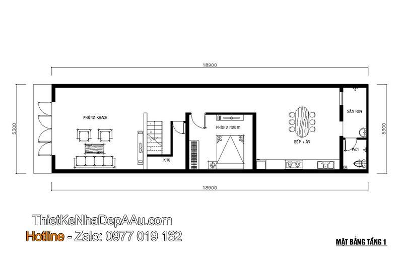 Mặt bằng tầng 1 của mẫu thiết kế nhà phố 3 tầng 5 phòng ngủ