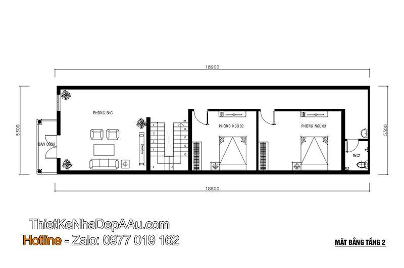 Bản vẽ mặt bằng tầng 2 của thiết kế nhà phố 3 tầng 5 phòng ngủ