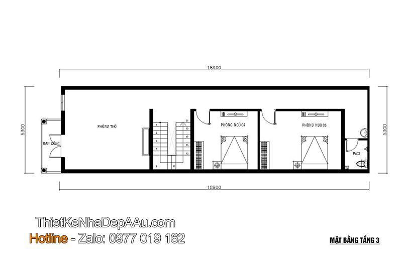 Mặt bằng tầng 3 của thiết kế nhà phố 3 tầng 5 phòng ngủ