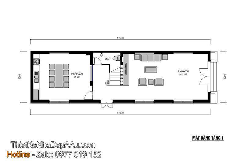 Bố trí mặt bằng công năng tầng 1 của mẫu nhà phố 3 tầng 90m2 hiện đại