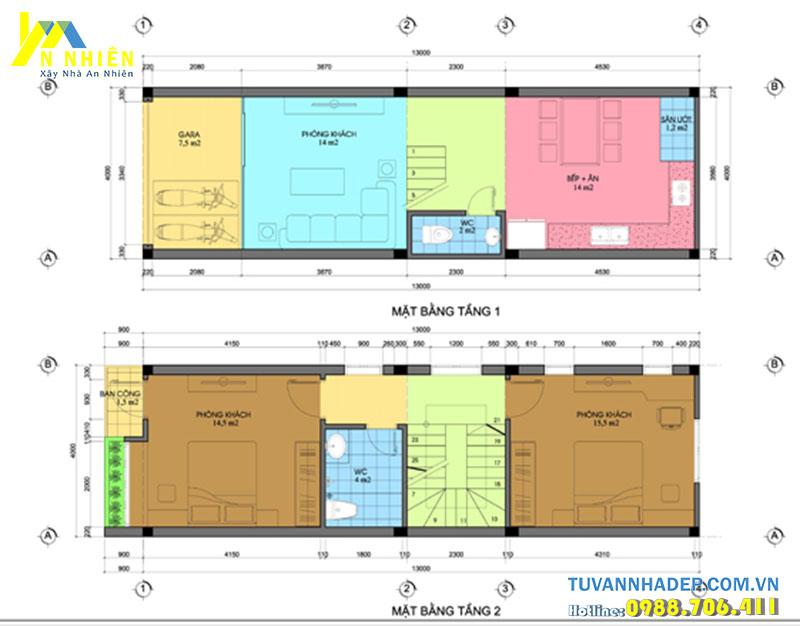 mặt bằng tầng 1 và tầng 2 nhà phố 4 tầng 4x13m