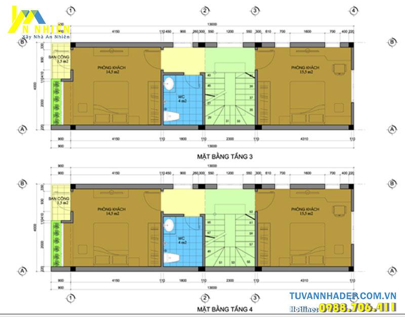mặt bằng tầng 3 và tầng 4 nhà 4 tầng ngang 4m