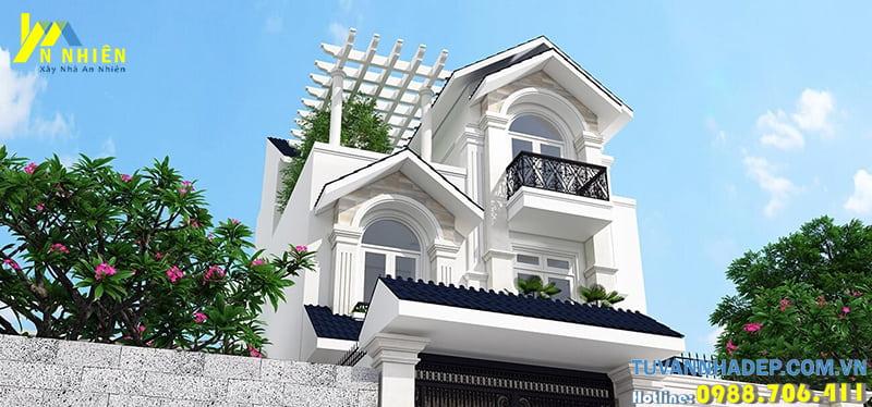 Thiết kế nhà đẹp 3 tầng mái thái mặt tiền 7m