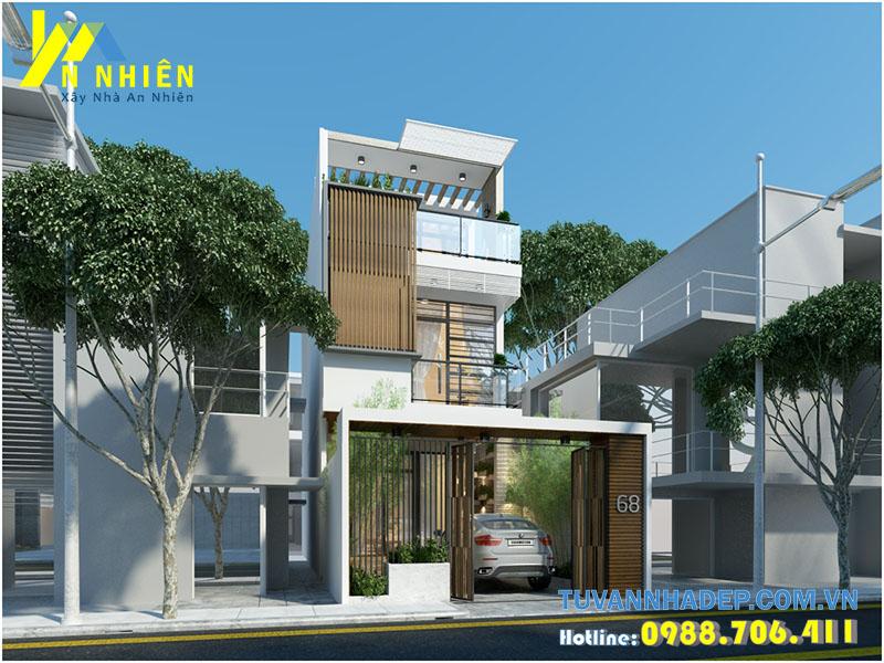 mẫu nhà phố 2 tầng 1 tum hiện đại