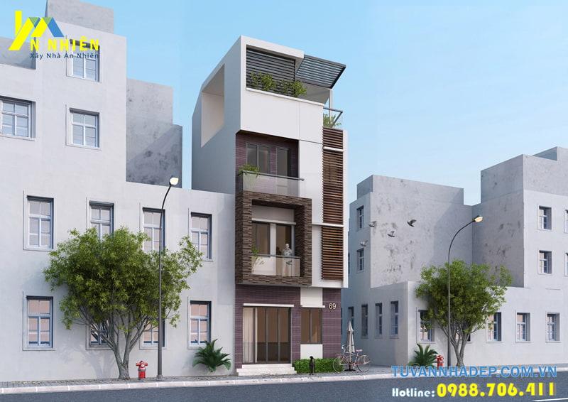 Thiết kế nhà phố hiện đại đẹp 72m2