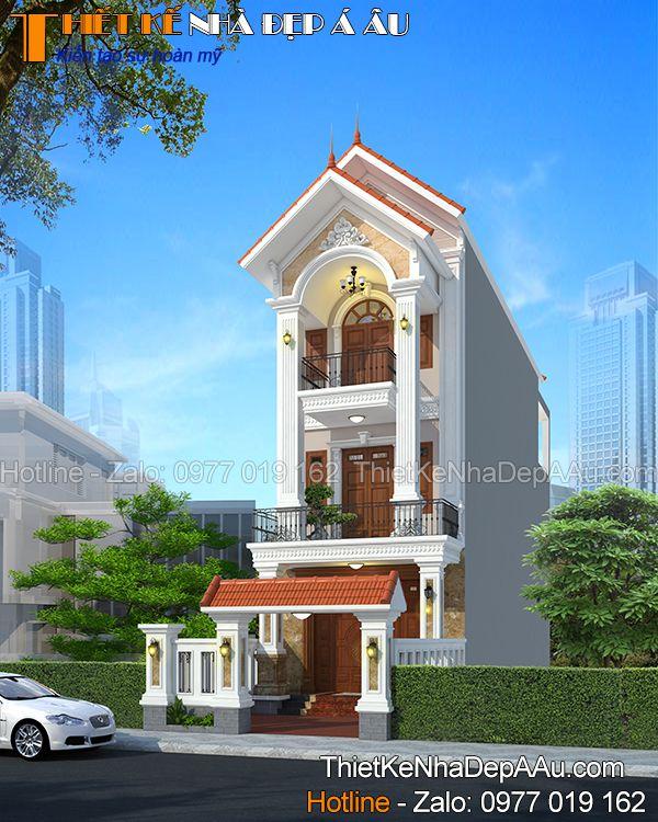 Mẫu nhà phố 4 phòng ngủ được thiết kế kết cấu mái dốc đẹp mắt