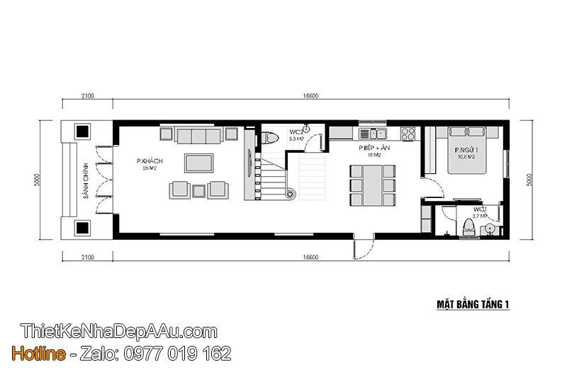 Mặt bằng công năng khoa học và tối ưu của mẫu nhà phố 4 phòng ngủ đẹp