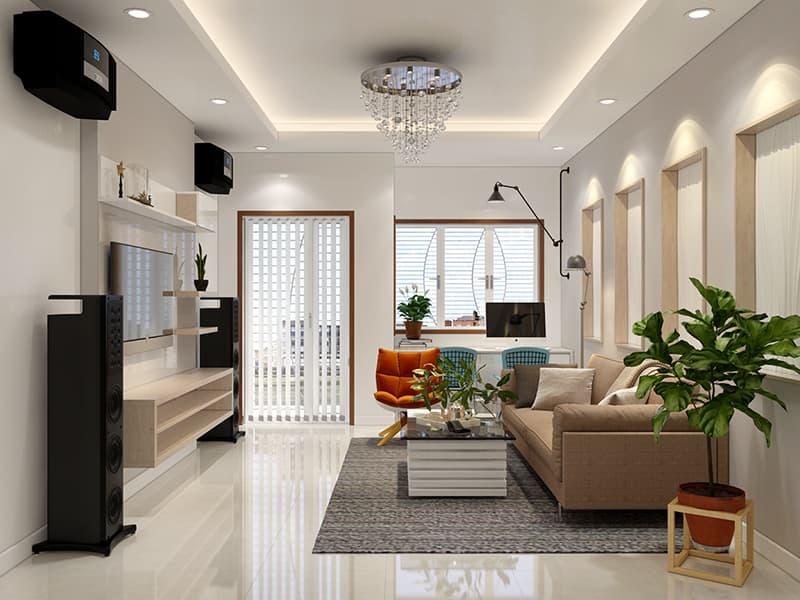 Thiết kế nội thất nhà 2 tầng mặt tiền 6m