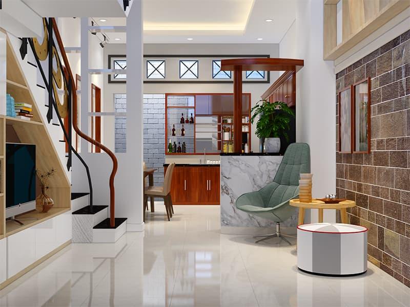 Phòng khách và phòng bếp được ngăn cách nhau bằng Lam gỗ