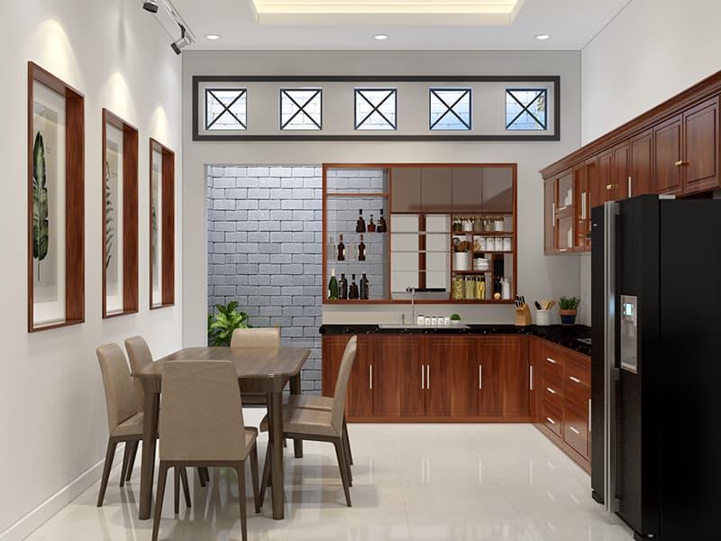 Nội thất phòng bếp tiện sử dụng và phù hợp với diện tích phòng