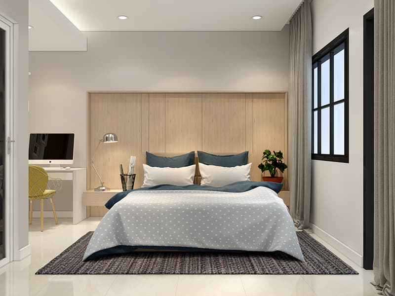 Phòng ngủ Master rộng có bàn làm việc